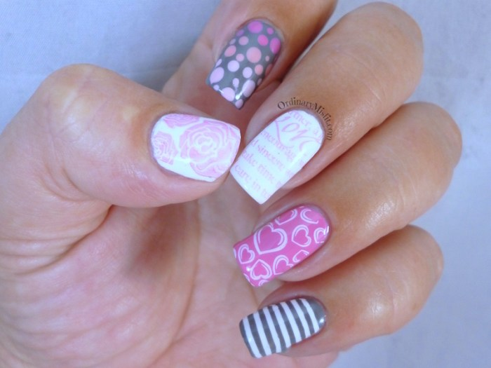 Valentine skittle nail art 3