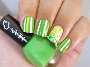 Hean I love Hean collection #809 with nail art stripes taped tape polka dots