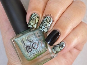 Miami Lights stamped nail art