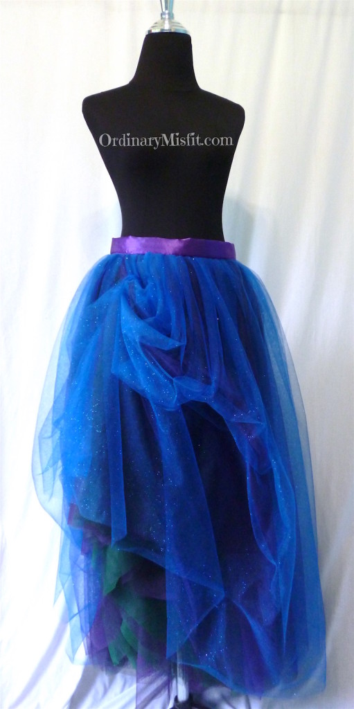 Green, purple, blue adult long tutu front pinned 2