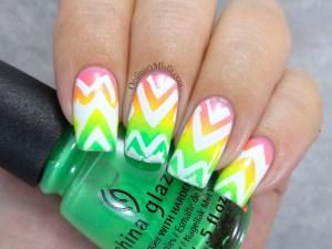 Neon Aztec gradient nail art