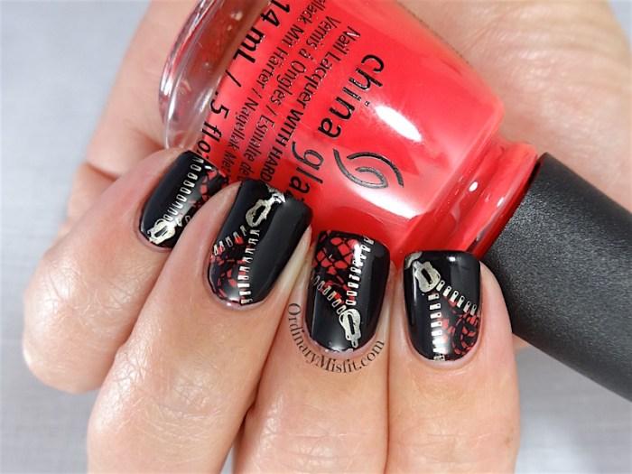 Unzipped in a hot flash nail art