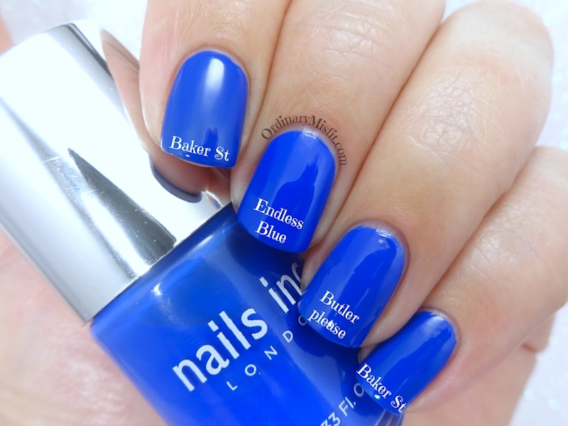 Comparison: Nails Inc - Baker st vs Sinful Colors - Endless blue vs Essie - Butler please
