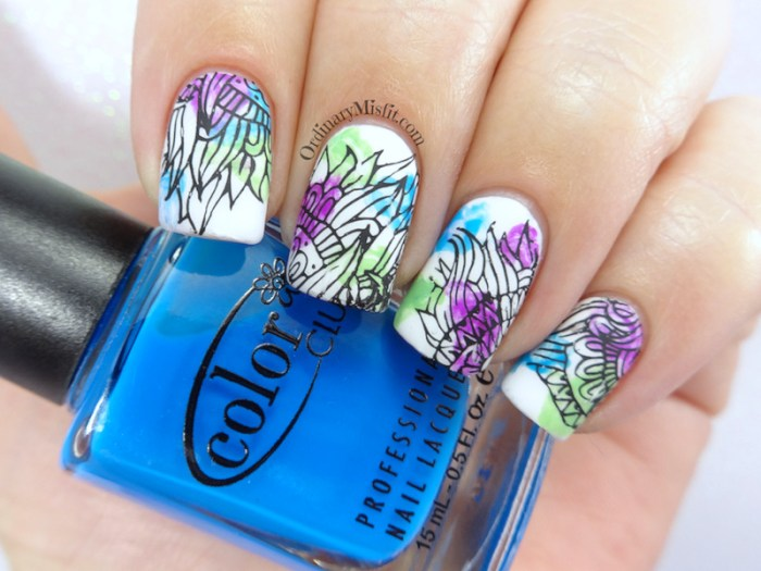 water colour nail art