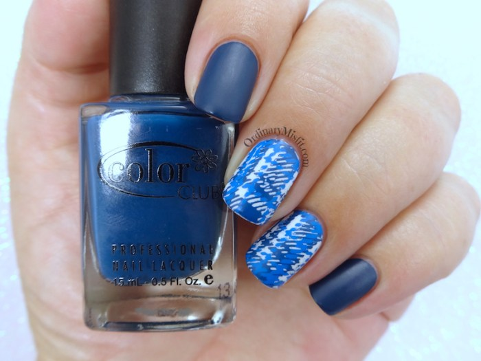 Blue plaid nail art BPL-041