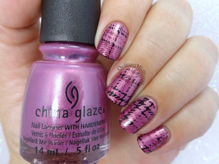 Purple plaid nail art BPL-041