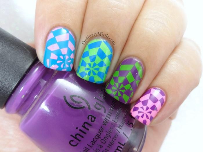 BP-L050 neon kaleidoscope nail art