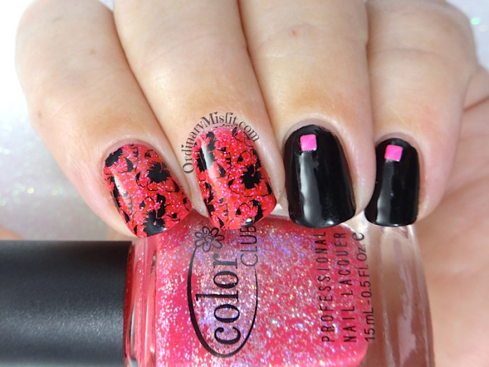 Pink glitter and black shadow flowers