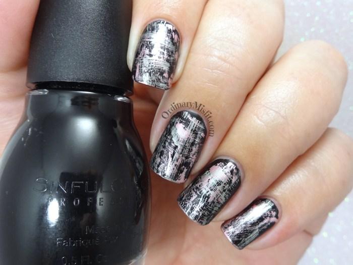 Metallic dry brush nail art