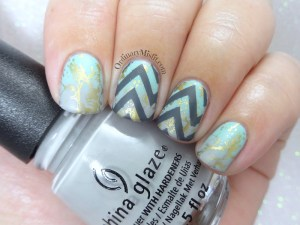 Chevron and splatters nail art