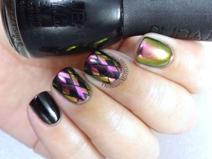 Stamped chrome nail art