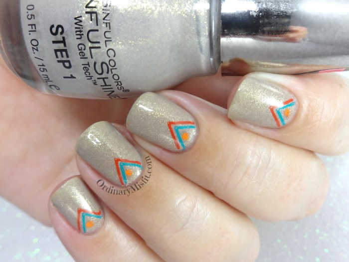 Arrowed prosecco nail art