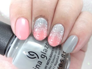 Pink and grey-dients nail art