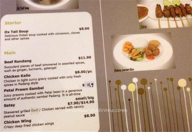Padang Gourmet Menu