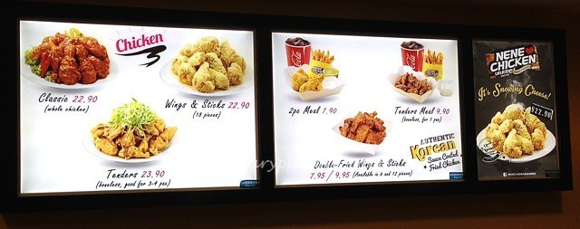 Seletar Mall Nene Chicken Menu