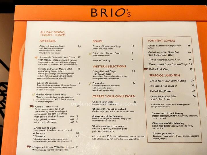 Cafe Brio Buffet Menu