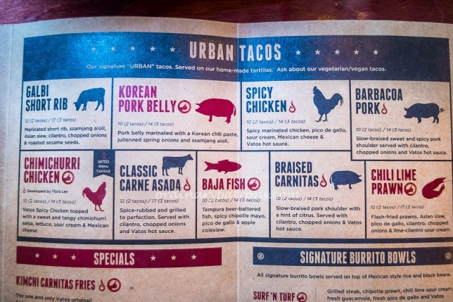 Vatos Urban Tacos Singapore Menu