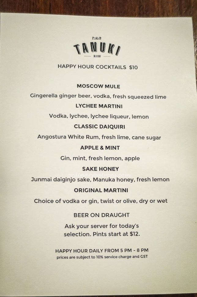 Tanuki Raw Cocktail Menu