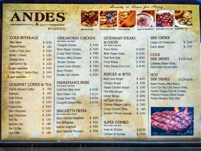 Menu of Andes By Astons