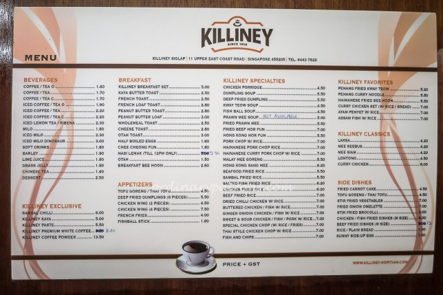Killiney Kopitiam Menu