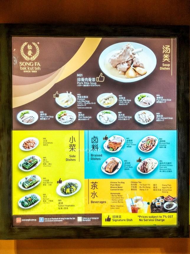 Song Fa menu