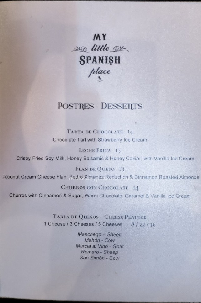 My Little Spanish Place Menu