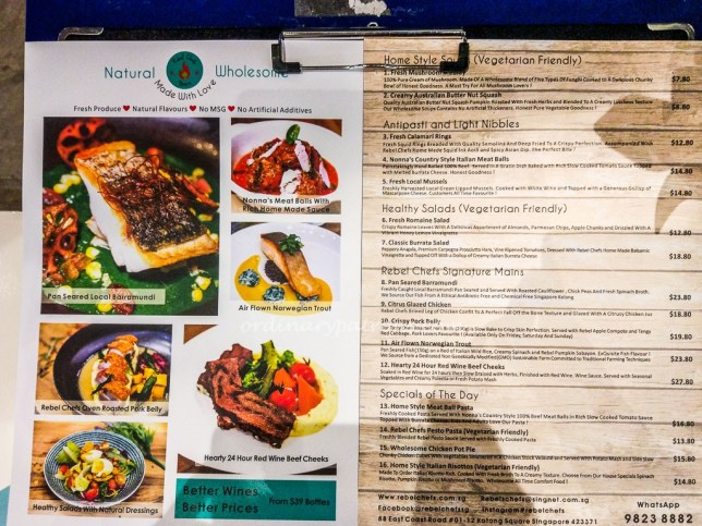 Menu of Rebel Chef at Katong Square