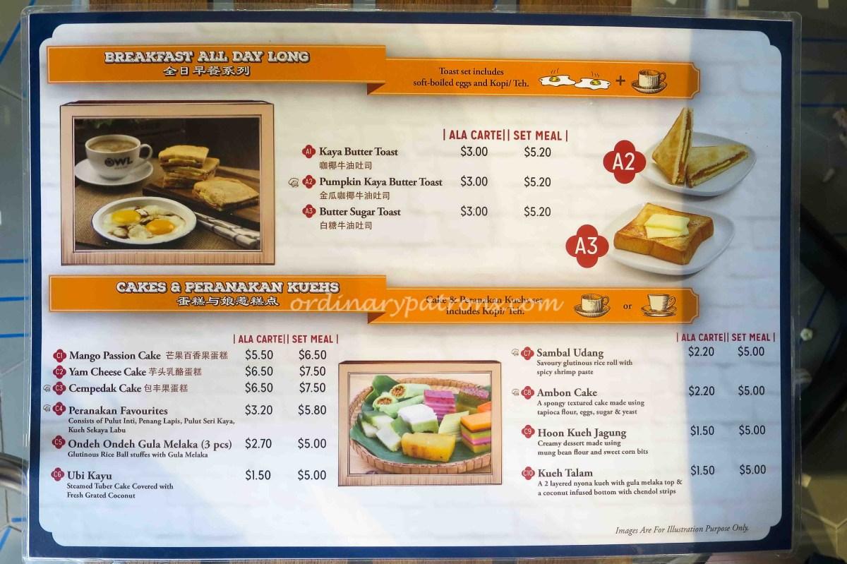 Owl Cafe Singapore Menu