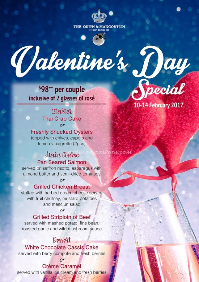 Queen And Mangosteen valentine's day menu