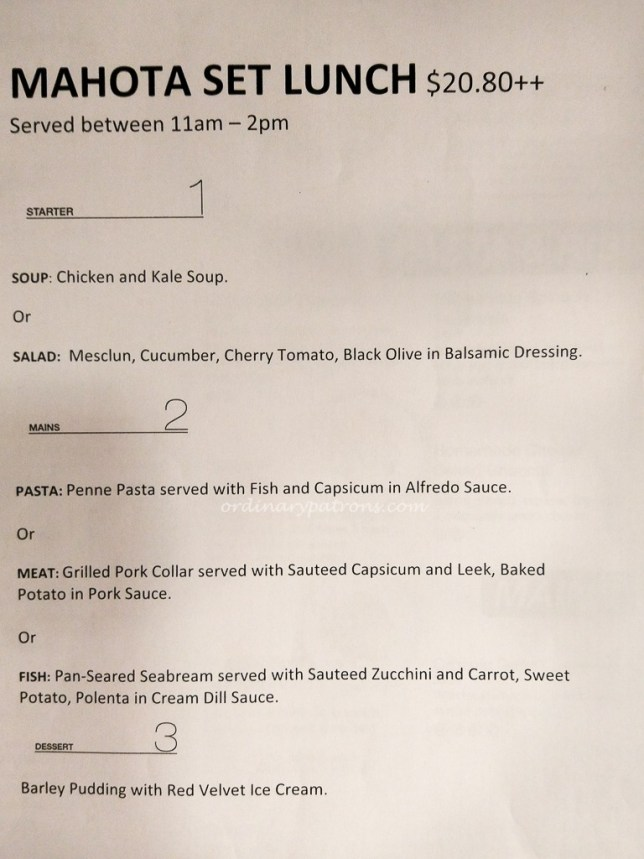 Set Lunch Menu at Mahota Kitchen