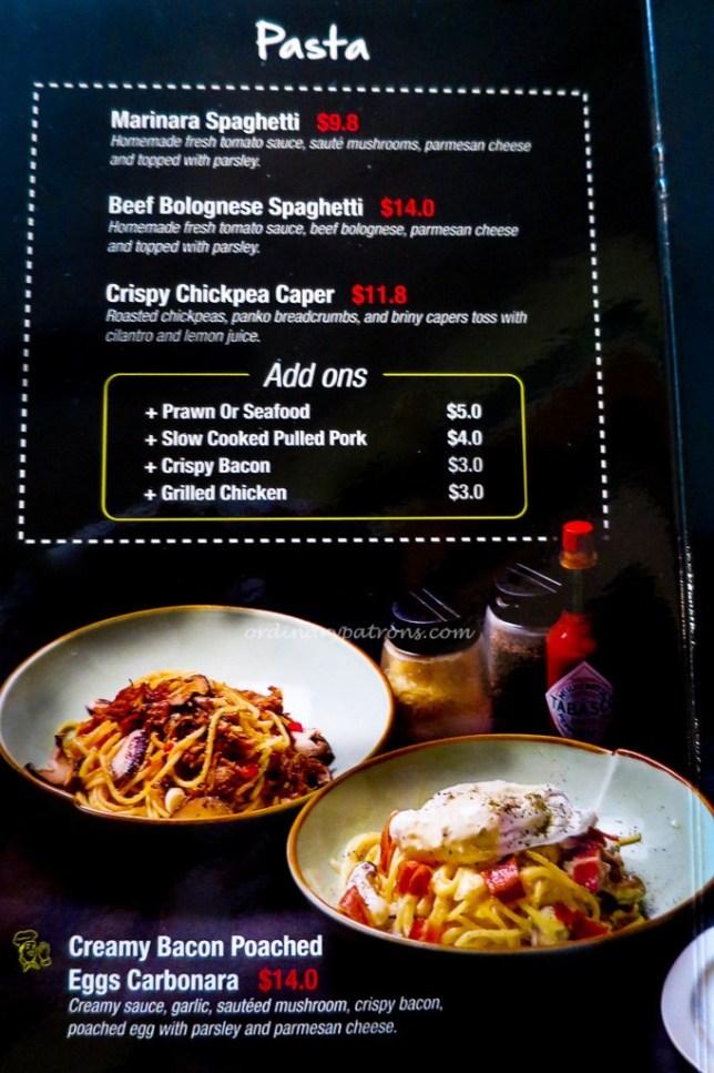 menu of espressolab