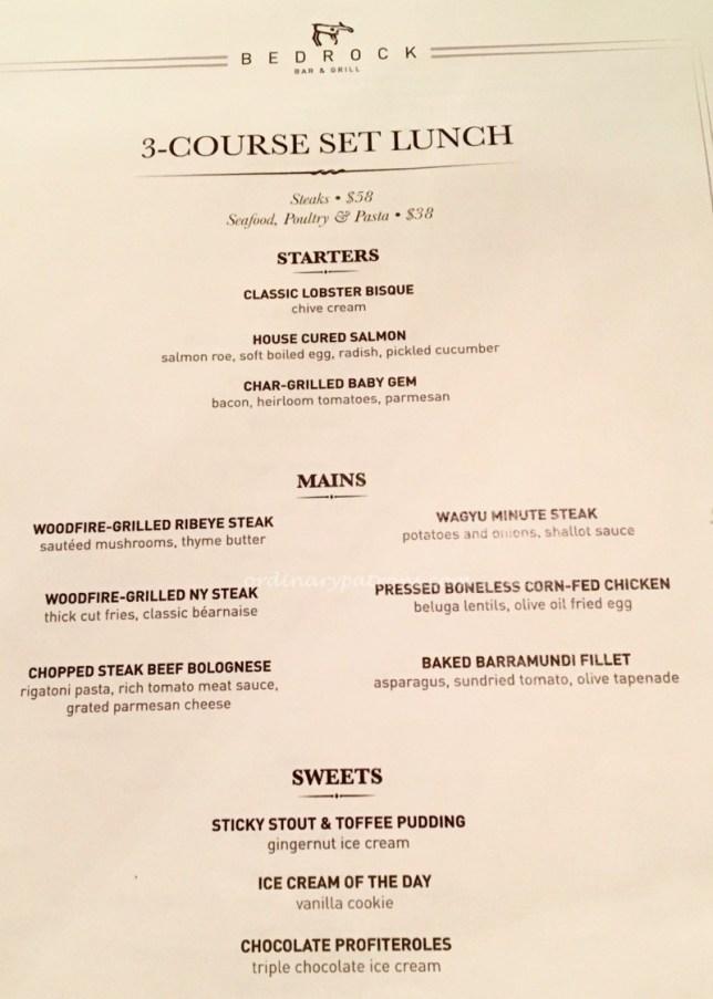 Bedrock Bar and Grill Menu