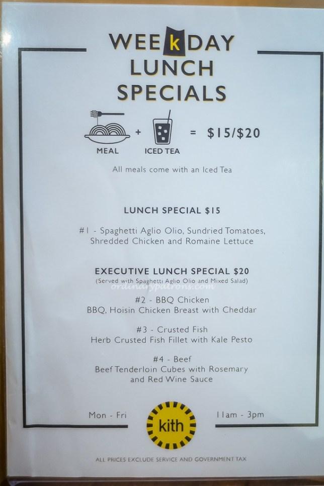 Kith Cafe Set Lunch Menu