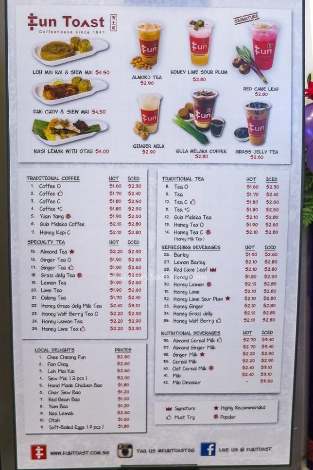 SingPost Centre Fun Toast Menu