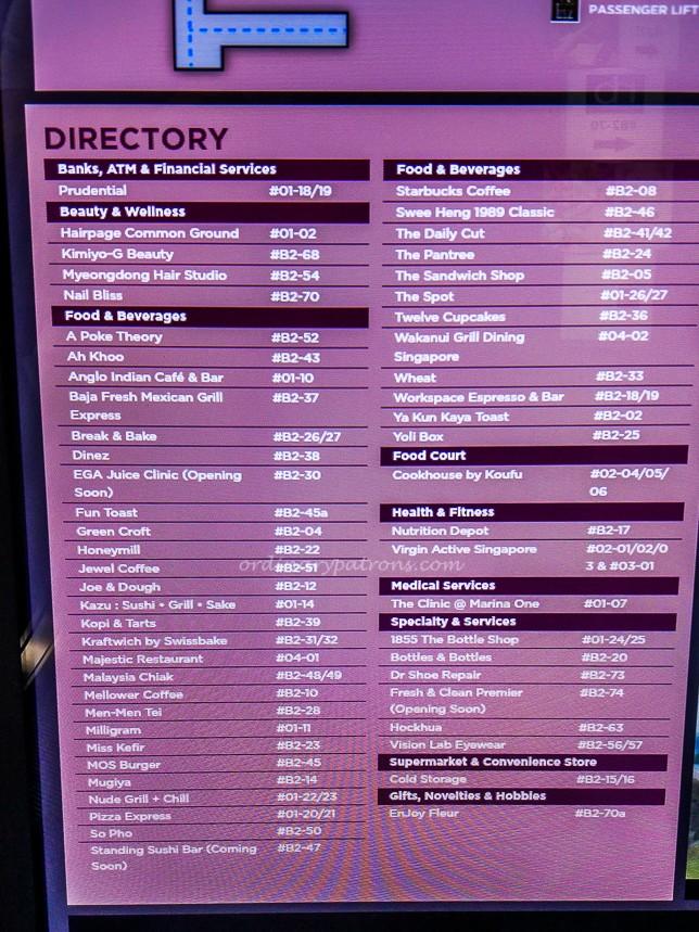 Marina One Directory