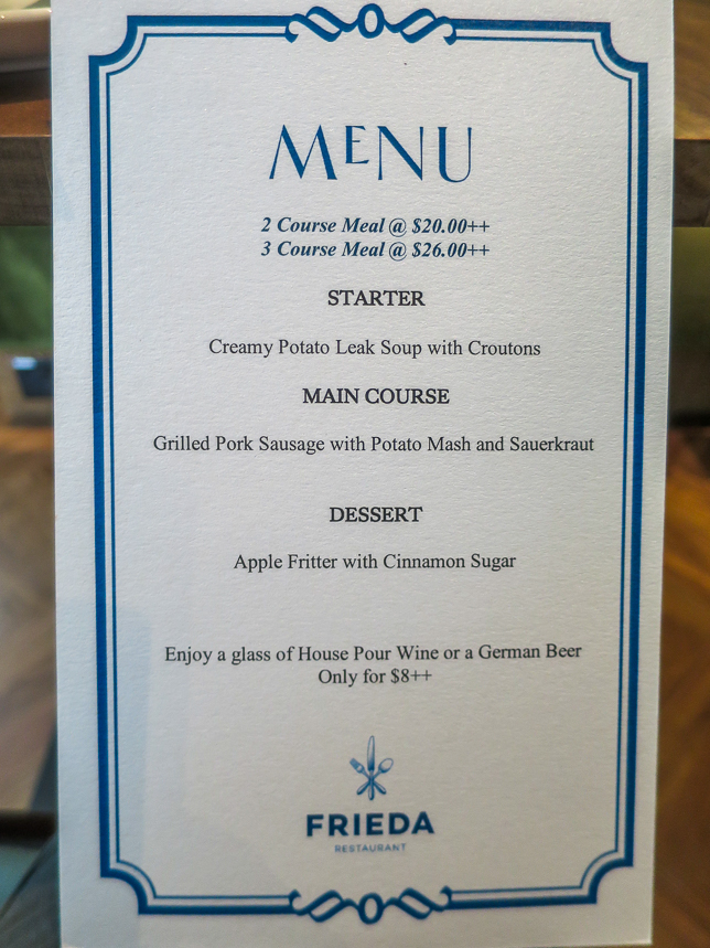 Frieda Restaurant Set Menu