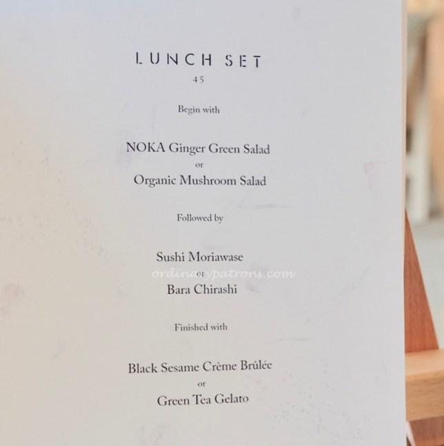 Noka Restaurant Set Lunch Menu