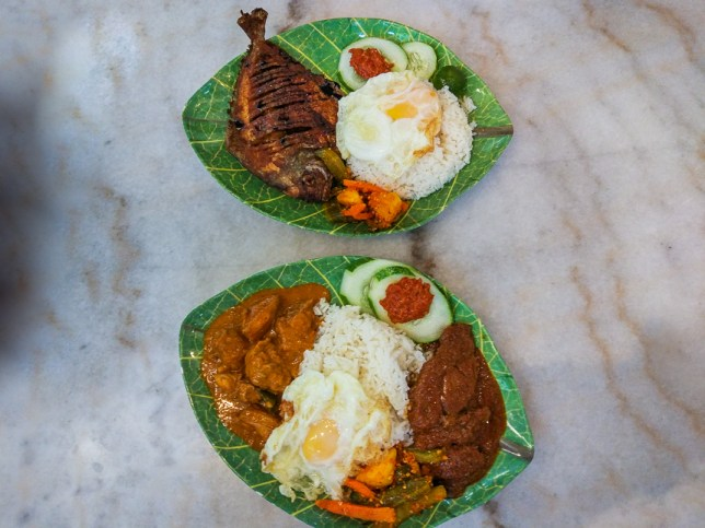 Beef Rendang Rice Set ($9.90) and a Crispy Pomfret Fish Rice Set ($13.90).