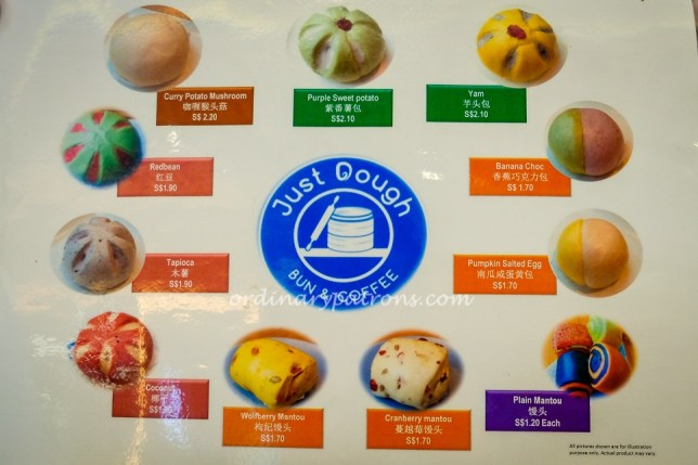 Just Dough Suntec City Menu of Buns and Prices