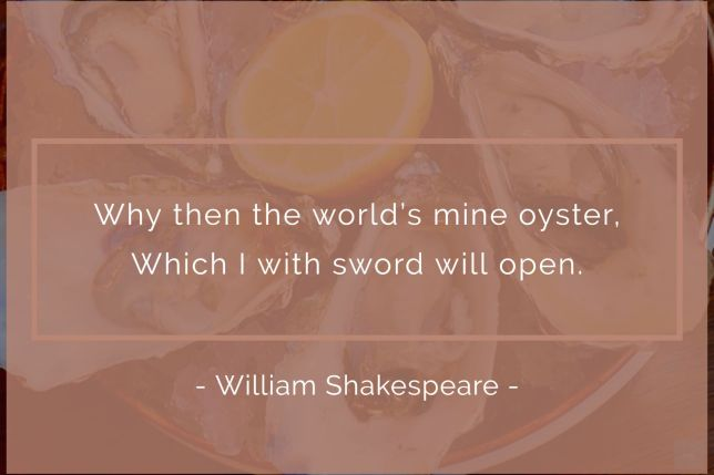 Why, then the world 's mine oyster, Which I with sword will open. - William Shakespeare quote
