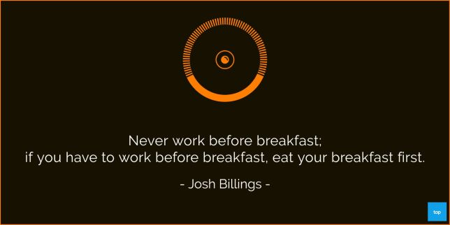 Never work before breakfast; if you have to work before breakfast, eat your breakfast first. -Josh Billings   quote
