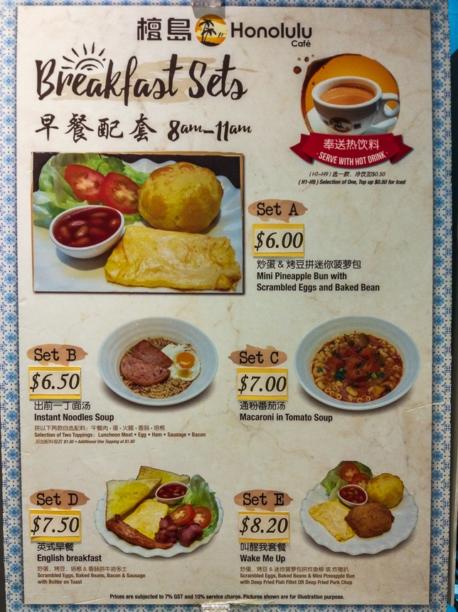 Breakfast Sets -  Menu at Honolulu Cafe
