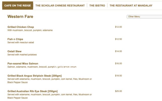 NUSS Guild House Takeaway Kent Ridge menu.