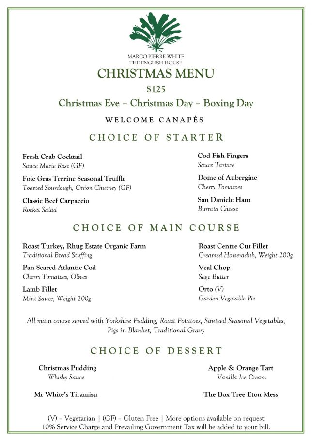 The English House Christmas Menu