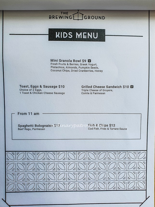 The Brewing Ground Kids Menu