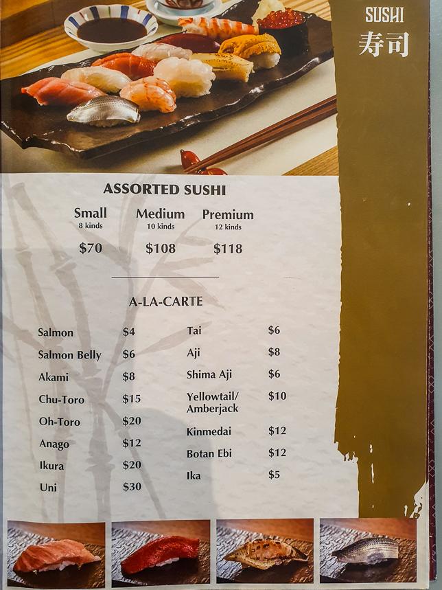 Menu of Sushi JIRO @ Parkroyal