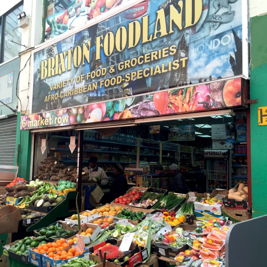 Brixton Foodland, a typical green grocers to be found throughout Brixton Market and Village