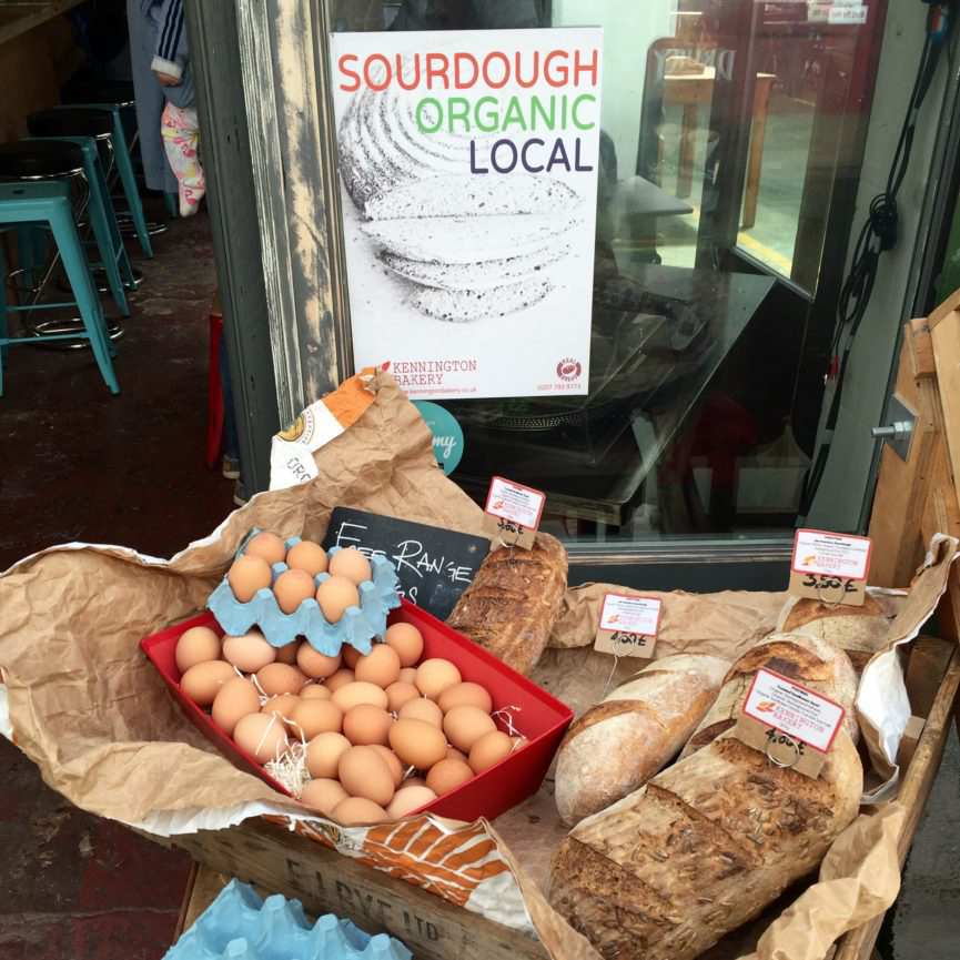 Sough dough bread and fresh eggs on sell at Brixton Village