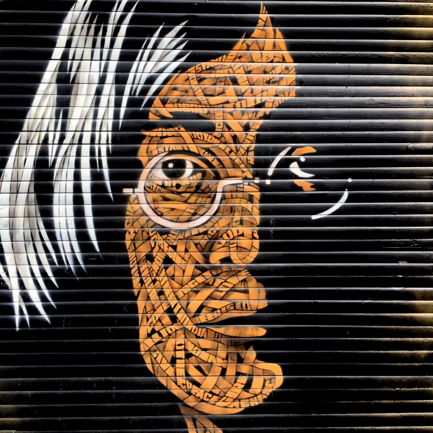 Mural of the late John Lennon painted onto the shutters of a store in Brixton Village