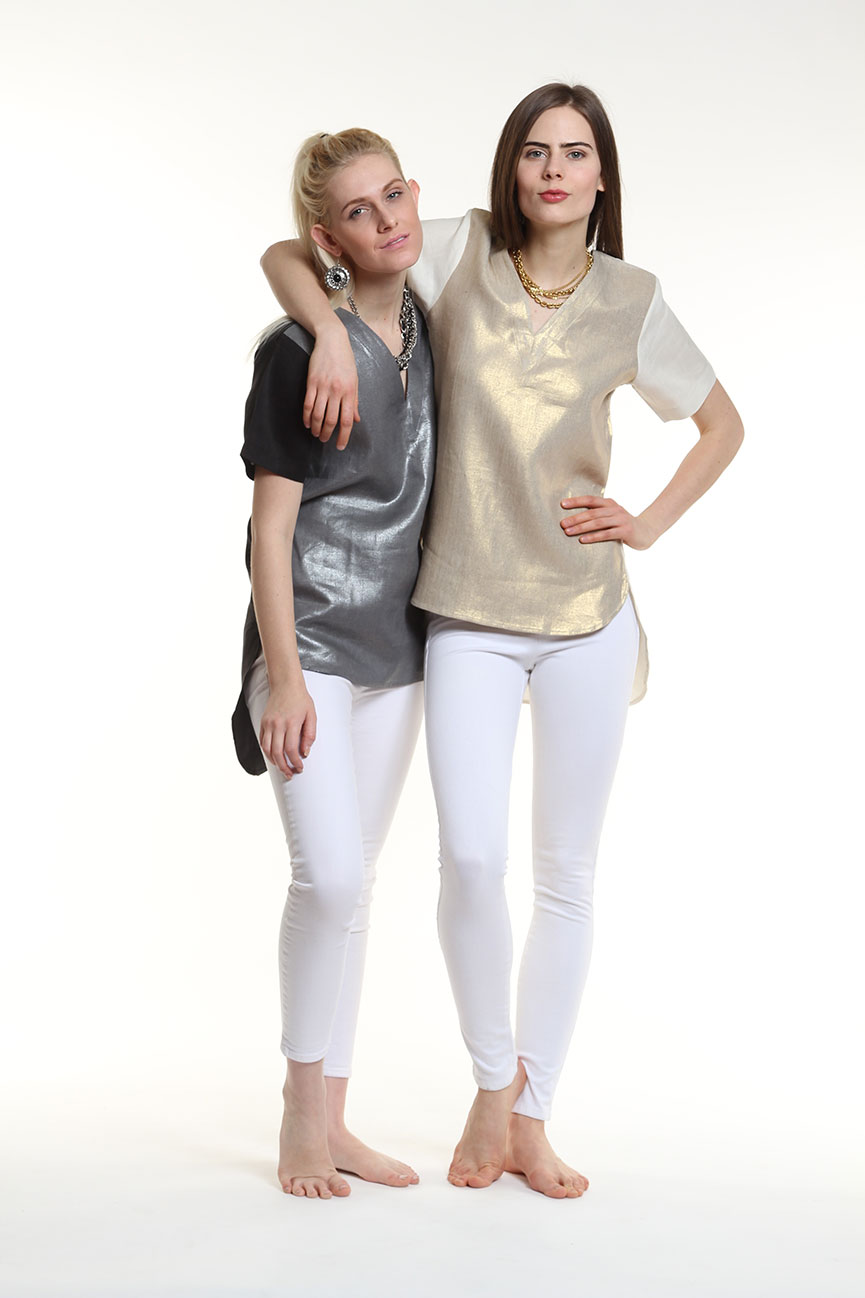 Guru's metallic linen tops